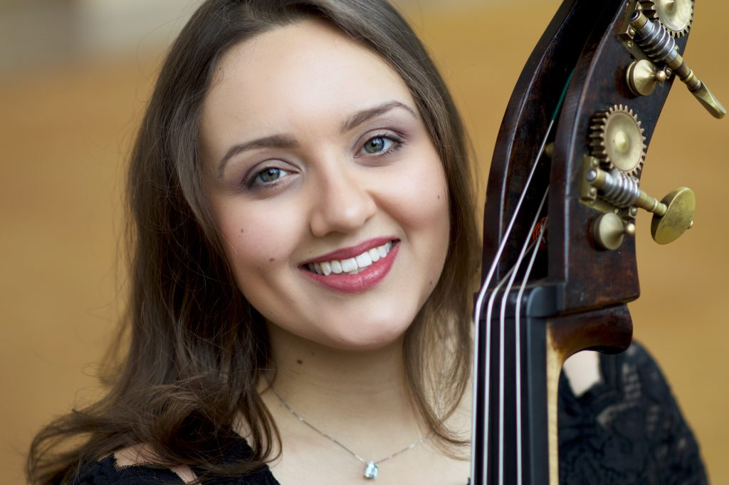 Headshot of Kate with Double Bass Scroll